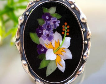 Pietra Dura Tropicana Stone Mosaic Ring Sterling Silver Jewelry