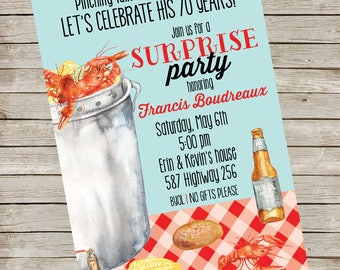 Crawfish Party Invitation PIY file ~ Crawfish Birthday Party Printable ~ Cray fish party Printable