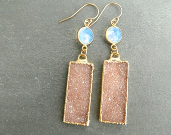 Druzy Crystal + Opalite Gold Earrings
