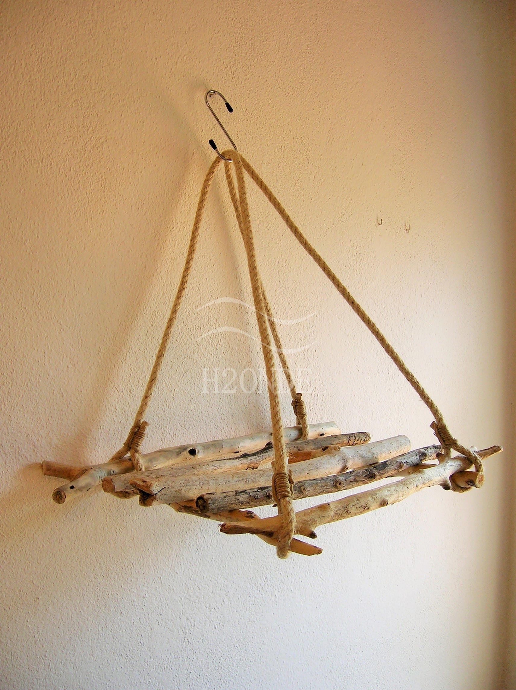 Portavaso legno di mare porta pianta sospeso corda fioriera for Portavaso pensile