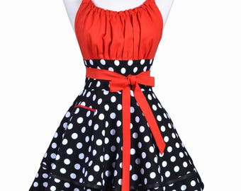 Flirty Chic Pinup Apron - Lipstick Red Black White Polka Dot Rockabilly Apron - Womens Sexy Cute Retro Kitchen Apron with Pocket