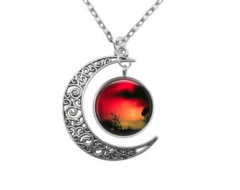 Aurora Australis Galaxy Night Skies Crescent Moon  Pendant 3858