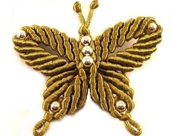 Macrame and khaki satin Butterfly brooch