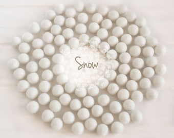 Wool Felt Balls - Size, Approx. 2CM - (18 - 20mm) - 25 Felt Balls Pack - Color Snow-8010 - 2CM White Pom Poms - Off White Felt Balls