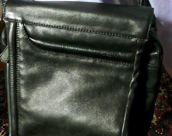 Vintage Purse - Mens Satchel - Carry All Bag - Messenger Bag - Leather Purse - Large Cross Body Bag - Black Shoulder Bag - Adjustable Handle