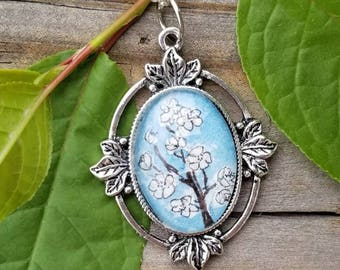 Apple Blossom necklace. Hand painted apple blossoms in watercolor and ink, Arkansas  state flower, Arkansas gift, white and blue floral