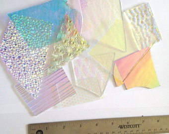 3 oz Sample Dichroic Scrap Glass 90COE on CLEAR - 1 Inch and up sized pieces - Fused Glass Supply