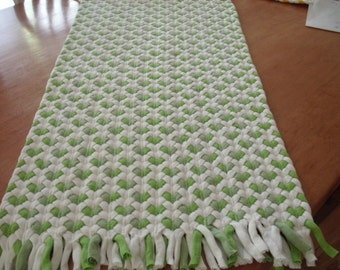 apple green heart rug made out of recycled t shirts