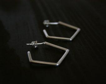 Geometric Minimal Sterling Silver Hoop Earrings