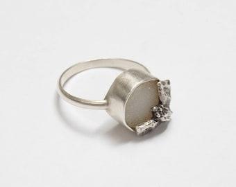 Bat Ring - Silver Bat Jewelry - Bat Wings - Druzy Ring - Drusy Ring - Animal Jewelry - Animal Ring - Vampire Ring - Dracula - Statement Ring