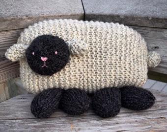 Sheep Nursery Pillow, Children's Pillow, Handmade Pillow, Kids Room, Nursery Decor, Wool Pillow, Knit Pillow, Baby Gift, Knit Lamb Pillow
