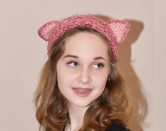 Cat Ears Headband Pink Cat Ears Headband Ear Warmer Crochet Headband Earwarmer CHOOSE COLOR Rose Mist Gift under 50
