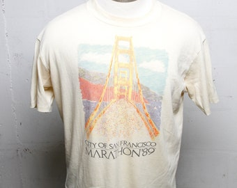 Vintage 80's 1989 San Francisco Marathon T Shirt Rare! Soft! Thin! L
