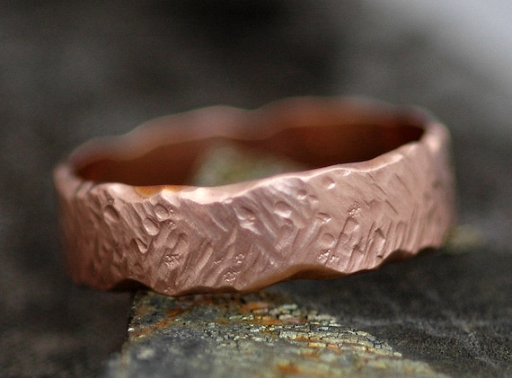 Gold Band- Recycled Gold in Herringbone Texture- Custom Made Choose 14k or 18k White, Yellow, or Rose Gold