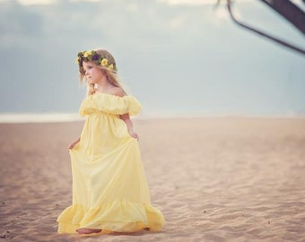 Reece Gown • Girls Vintage Dress • Flowing Hand Made Dress • Classic Vintage Chiffon Gown • Ruffle Night Gown • Girls Chemise