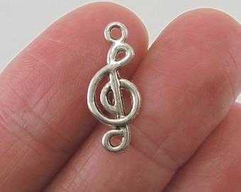 10 Treble Clef charms, 19x8mm, antique silver finish