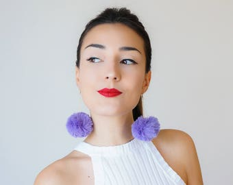 Statement Jewelry Pompom Earrings Purple Earrings Purple Outfit Purple Accessory Girlfriend Gift for Women For Her Inspirational/ POMPOMA