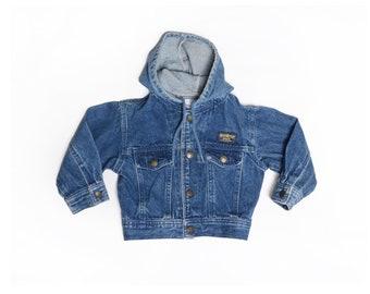 Vintage 80's TODDLERS Osh Kosh Hooded Jean Jacket Sz 24M