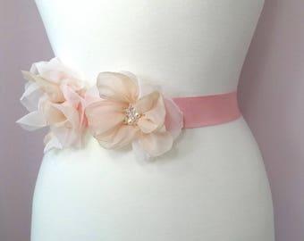 Bridal sash, belt, flower bridal sash, Boho bridal, pink gold wedding sash belt, heirloom wedding, Bohemian wedding sash belt Style 509