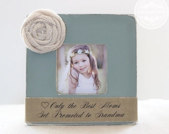 Mimi Gift for Grandma Grandmother Nana Abuela Personalized Picture Frame 'Only the Best Moms Get Promoted to Grandma'