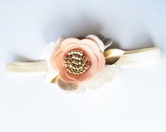 Baby Flower Headband - Peach Toddler Headband - Peach & Gold Headband - Flower Girl Accessory - Bridal Party Hair - Birthday Baby Headband
