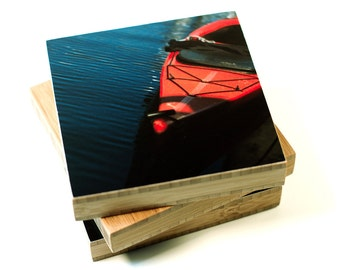 Bamboo block, kayak, wall art, living room, boat, water, nautical, photography, print, northwest, bathroom, dock, port, slip, red, canoe