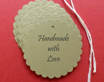 100 large scalloped kraft tags free US shipping personalized tags round tags gift tags clothing hang tags price tags handmade with love