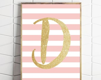 personalised girls nursery decor, monogram initial gold, pink gold wall art, printable wall art, D letter art, D initial decor