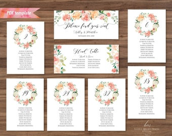 Printable Peach Cream Floral Seating Plan, Editable PDF Seating Chart Template, Rustic Seating Card Table Cards, DIY Instant Download #02