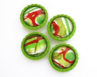 Modern hand-painted magnets / bright green / red / white / set of four / original abstract design / M-40