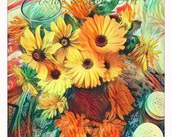 SALE Digital Download Pot Marigold flowers in vase - Digitally Enhanced Art Photo File of Pot Marigold Flowers