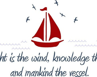 Thought is the wind Vinyl Wall Decal Decor Wall Lettering Words Quotes Decals Art Custom Nautical Boats Sea