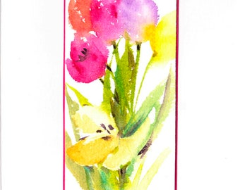 Handpainted Tulip Card, Original watercolour, Mother's Day, Birthday, Blank Greetings, Tulips in vase, Spring bouquet, Floral, Mini Art Card