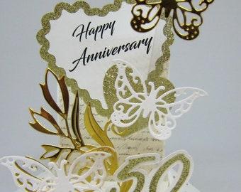 50th Anniversary Pop Up Box Card - Golden Wedding Anniversary - Card in a Box
