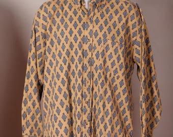 Awesome Men's 90s Button Down Long Sleeve Shirt - WORLD ISLAND - diamond pattern - L