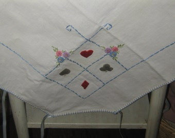 Vintage 1940-50 BRIDGE Cards table cloth with embroidered card suits hearts spades diamond clubs collectible colorful free ship