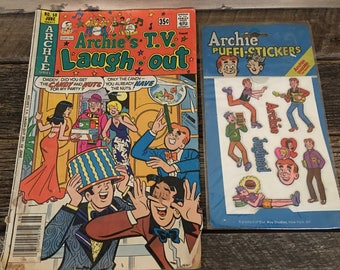 Archie's Cartoon Comic Book and Puffi-Stickers, Archie's T.V. Laugh Out Comic, Vintage Comics