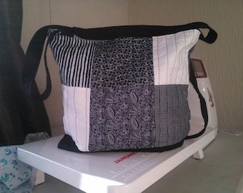 Black quilted patchwork book bag
