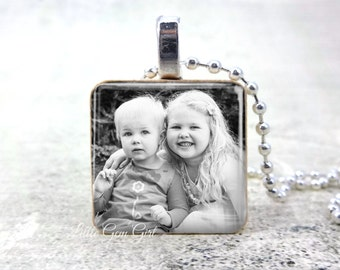 Custom Photo Wood Pendant - Personalized Picture Necklace - Mothers Day Grandchildren Kids Picture Keepsake Gift