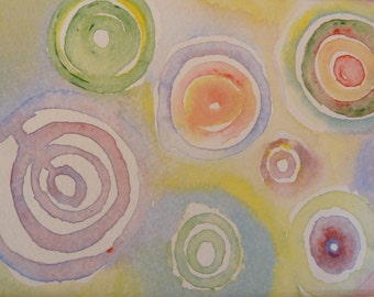Abstract Watercolor-Original Art-One of a Kind-Abstract-Concentric Circles-Bubbles-Pastel Colors-Soothing-Mesmorizing-Relaxing-Wall Decor