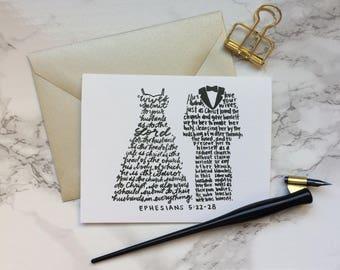 Ephesians 5:22-28 | Husbands & Wives | Love | Engagement | Wedding | Anniversary | Christian Greeting Card