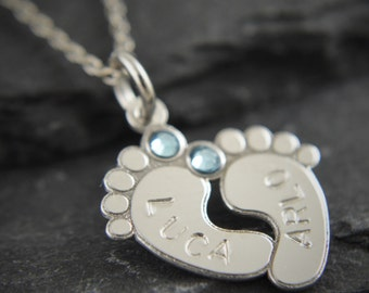Baby feet necklace. Sterling Silver baby feet charm. New baby gift. New baby. New mum necklace. New mom gift. New baby gift. New mum present