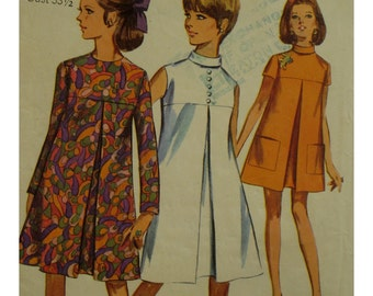 """60s Tent Dress Pattern, Front Pleat, Yoke, Stand-up Collar, Sleeveless, Short/Long Sleeves, Simplicity No. 7356 Size 13/14 (Bust 33.5"""" 85cm)"""