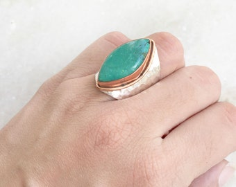Turquoise silver Ring, Natural Turquoise Ring, Marquise Ring, Handmade ring, 925 sterling silver ring, Turquoise Gemstone, Hammered Ring