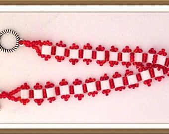Bracelet Handmade by MWL white square duo beads and red seed beaded bracelet. 0209