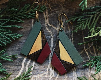 Cranberry and Sage Geomtric Woodburned Pendant Earrings