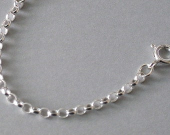 """925 Sterling Silver Belcher 2.5mm x 3mm Chain Bracelet Necklace Ankle Chain Anklet Length 6"""" - 24"""" inches"""