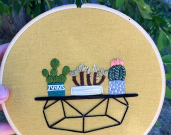 Geometric Table with 3 Plants-Mustard Yellow