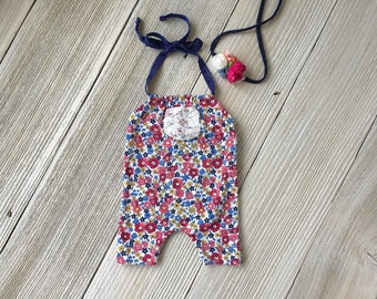 Navy and Pink Newborn Romper Photo Prop SET with Headband - Newborn Baby Girl - Ready to Ship