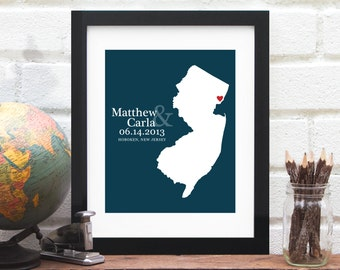 Personalized Wedding Map, Custom  State Art Print, New Jersey Art, Gay Marriage Gift, Anniversary Map, Engagement Gift, Bridal Shower